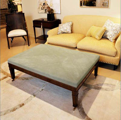 Hollywood Interiors: Custom suede ottoman in collaboration with Melinda Ritz