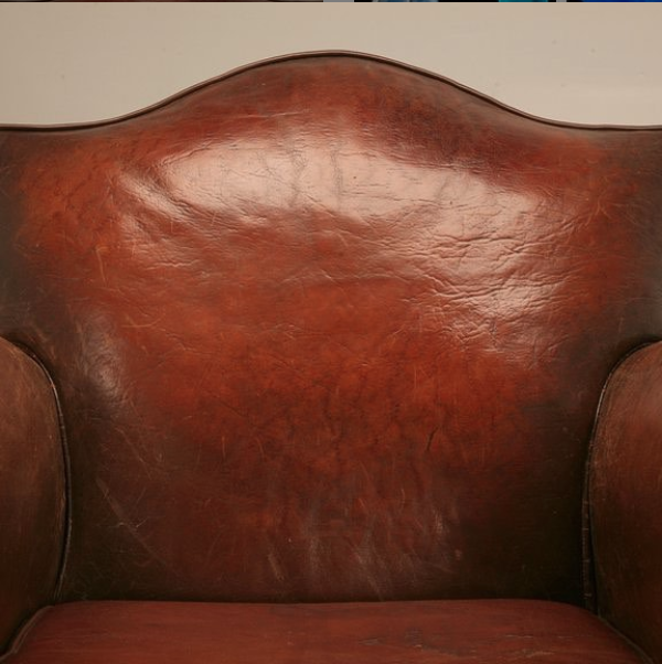 Custom antiqued leather chair
